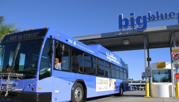 An out-of-service bus leaves the Big Blue Bus yard on Monday. (Daniel Archuleta daniela@smdp.com)