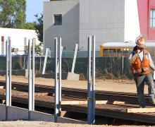 A worker leaves the construction site of the Expo Light Rail Line at the corner of 17th Street and Colorado Avenue on Tuesday. (Daniel Archuleta daniela@smdp.com)