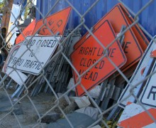 Signs sit at one of the construction sites for the Expo Light Rail Line. (Daniel Archuleta daniela@smdp.com)