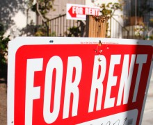 'For rent' signs sit in front of an apartment building on Fifth Street. Daniel Archuleta daniela@smdp.com