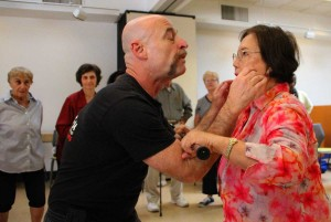 FIGHTERs: Velilla Go, 77, (right) and Lawrence Rouse practice Cane-Fu at WISE & Healthy Aging Center on Tuesday. (Daniel Archuleta daniela@smdp.com)
