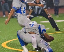 Culver City kicker Nico Melendez connects on a field goal in overtime to defeat Santa Monica on Friday. (Paul Alvarez Jr.)
