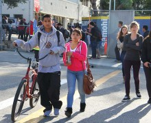 Santa Monica High School students leave campus last week along eastbound Michigan Avenue. (File photo)