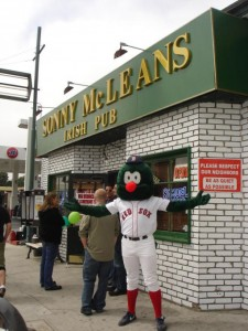 A Boston Red Sox fan shows their love at Sonny McLean's on Wilshire Boulevard. (Photo courtesy Sonny McLean's)