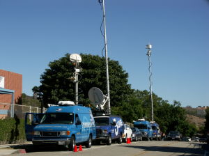 News trucks parked outside Malibu High School Monday. (Photo by Jimy Tallal/Malibu Times)