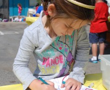 A student at Roosevelt Elementary School works on her art project earlier this month. (Photo courtesy Alisandra Rand)