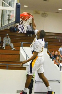 hops: Samohi's Jordan Mathews slam dunks the ball during last year's Santa Monica Tournament. Mathews has since moved on to Cal. (File photo)