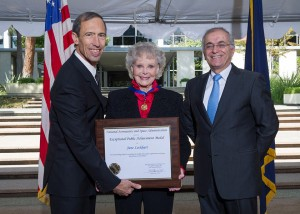BIG HONOR: June Lockhart is awarded the Exceptional Public Achievement Medal for inspiring the public on space exploration. (Photo courtesy NASA/JPL-Caltech)