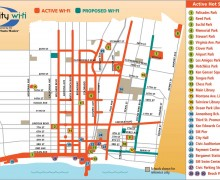 SHARING THE INTERNET WEALTH: This map illustrates the different areas of Santa Monica where free wi-fi Internet access is available to the public.  (Map courtesy City of Santa Monica)