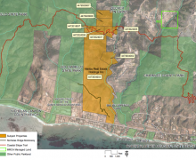 The land (in orange) being considered for purchase. (Map by Santa Monica Mountains Conservancy)