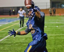 PAY DIRT: Samohi's Will Taylor celebrates as he runs toward the endzone for his second touchdown of the night at Santa Monica College's Corsair Field Friday night in a 27-0 victory over Channel Island during the first round of the playoffs. Next for Samohi is a road game at Lompoc. (Paul Alvarez Jr. editor@smdp.com)