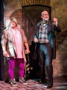 MAKING FUNNY: Frank Caeti and Ron West in the 2012 production of The Second City's 'A Christmas Carol: Twist Your Dickens!' by Peter Gwinn and Bobby Mort at the Center Theatre Group / Kirk Douglas Theatre. (Photo courtesy Craig Schwartz)