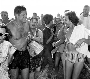Causing a crowd.  On Aug. 19, 1962 JFK took a dip in Santa Monica. (Copyright, 2013, Los Angeles Times. Used with permission. Photo by Bill Beebe.)