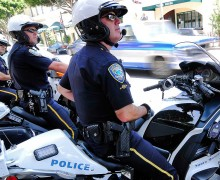 ON THE BEAT: Santa Monica police officers conduct a pedestrian sting operation. (File photo)