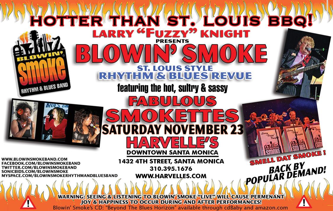 BLOWIN' SMOKE NOVEMBER 23 HARVELLES POSTER