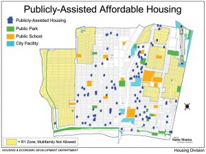 A map of publicly-assisted housing in Santa Monica. (Courtesy City Hall's Housing Division)