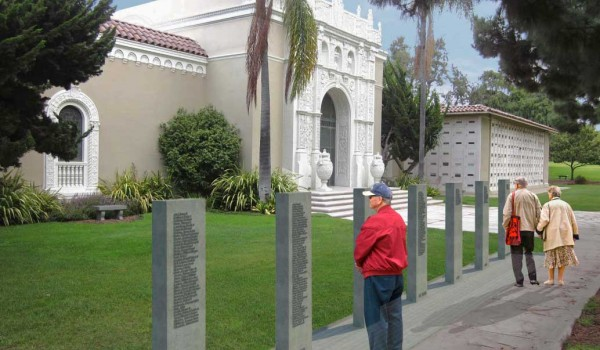 IN THE WORKS: A proposed memorial to fallen veterans would consist of seven pillars, one for each major conflict since WWI. (Rendering courtesy City of Santa Monica)