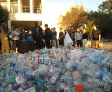 Samohi students with Team Marine sort recyclables at the high school. (Photo courtesy Team Marine)
