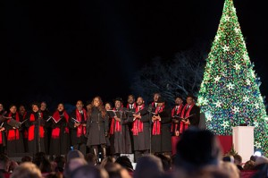 A choir sings at  the 91st annual National Christmas Tree Lighting held earlier this month. President Obama was invited to light the National Christmas Tree and bring a message of peace to the nation and world. (photo courtesy www.recreation.gov)