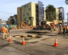 Work on the Expo Light Rail Line continues in Santa Monica. (Daniel Archuleta daniela@smdp.com?