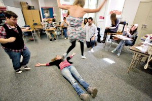 ACTIVE LEARNING: Olympic High students take part in a drama class. (Brandon Wise brandonw@smdp.com)