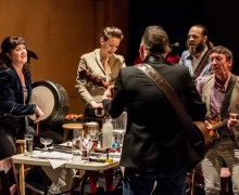 (From left) Annie Grace, Melody Grove (Prudencia), Paul McCole, Alasdair Macrae, David McKay performing on instruments for The National Theatre of Scotland's 'The Strange Undoing of Prudencia Hart.' (Photo courtesy Ben Gibbs)