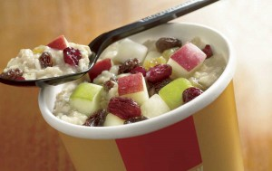 As people choose to eat out more often because of their busy schedules, fast-food restaurants like McDonald's are adjusting to the demand for healthier options by offering this oatmeal with fruit dish. Total Calories: 400 (Photo courtesy McDonald's)