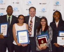 (L-R) Finalists Tayon Blockmon, Geanna Grammatico, Gabriela Hernandez and Aemoni Harris pose with Boys & Girls Clubs of Santa Monica board member Bill Dawson (center). Hernandez won Youth of the Year. (Fabian Lewkowicz FabianLewkowicz.com)