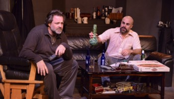 "Jonathan Goldstein (""Richard"") and his neighbor Danny Parker (""Jackson"") share a bong. (Photo by Joel Daavid)"