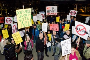 Protesters gather outside of a recent City Council meeting. (Paul Alvarez Jr.)