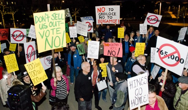 Residents opposed to the Hines development gather outside of a City Council meeting. (Paul Alvarez Jr.)
