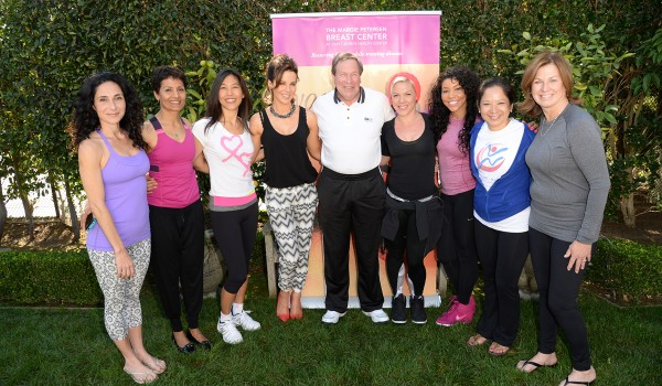 (From Left to Right) Mandy Ingber (Yoga Instructor for Fundraiser), Kamla Subramnian (Yoga Instructor for the Margie Petersen Breast Center Yoga Program), Maggie DiNome, MD (Director of the High-Risk Clinic at the Margie Petersen Breast Center), Kate Beckinsale (Fundraiser Host), Michael L. Wall (Saint John's Acting President and CEO), P!nk (Attendee), Jeanette Jenkins (Attendee), Maureen Chung (Director of the Margie Petersen Breast Center) and Mary Flaherty (Foundation Trustee and Fundraiser Host)