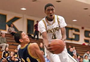 Samohi's Jonah Mathews goes to the basket against Montebello on Friday. (Morgan Genser editor@smdp.com)