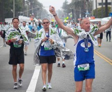 DONE: Runners celebrate after finishing last year's LA Marathon. (Brandon Wise brandonw@smdp.com)