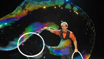 TOO COOL: Louis Pearl, The Amazing Bubble Man, will play the Edgemar Center for the Arts. (Photo courtesy Peter Day)