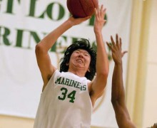 St. Monica's Xiangyu Meng goes up for a shot earlier this season. (File photo)