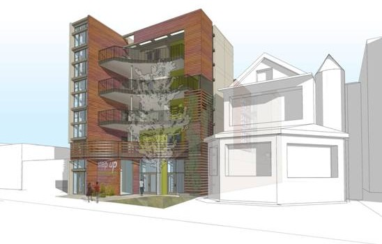 When completed, this is what the housing project will look like. (Rendering courtesy Step Up on Second)