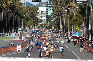 Runners make their way to the finish line of this year's Los Angeles Marathon. (Morgan Genser editor@smdp.com)