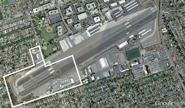 BIG CHUNK: The west end of Santa Monica Airport marked off by white lines could be closed by city officials in 2015. (Image courtesy Google Earth)
