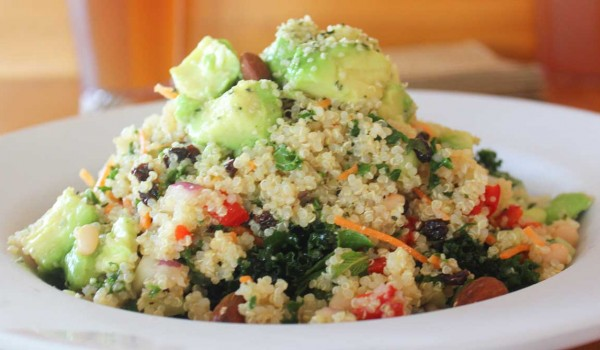 Veggie Grill's quinoa power salad, which contains quinoa, kale, fennel, mint, white beans, avocado, almonds, and currents, with a citrus vinegar dressing. (Michael Ryan michael@smdp.com)