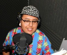 LAYING DOWN VOCALS: Eddie Martinez puts in work at Pico Youth & Family Center's recording studio. (David Mark Simpson dave@smdp.com)
