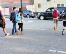Samohi students jaywalk near campus earlier this year. (File photo)