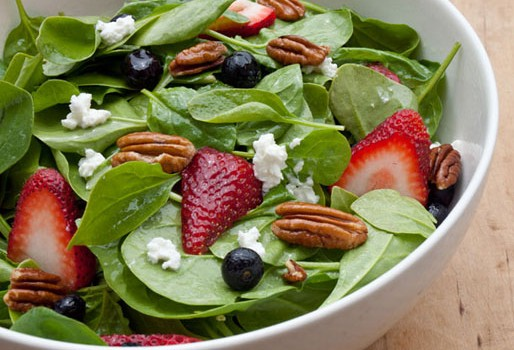 This refreshing spring spinach salad with strawberries is loaded with antioxidants and flavor, making for a healthy lunch.