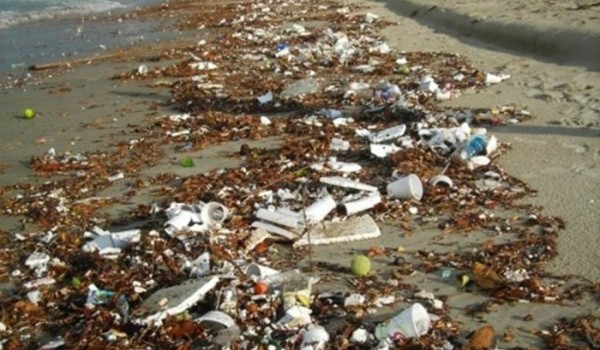 Trash that washed ashore on the Santa Monica Beach this weekend thanks to the recent rain storms. (Photo courtesy Heal the Bay)