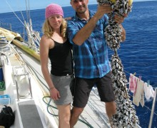 EXAMPLE:  Anna Cummins and her husband Marcus Eriksen are experts on ocean trash. (Photo courtesy 5 Gyres)