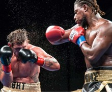 BOOM: Boxer Charles Martin (right) is appearing on King Sports Worldwide's promotion at Barker Hangar on Wednesday. (Photo courtesy Peter Politanoff)