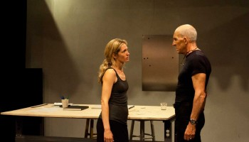 ACTORS PUTTING IN WORK: Daniel J. Travanti and Amanda Summers star in 'False Solution.' (Photo courtesy Mark Monteil/Architect's Newspaper)