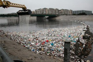 Used plastic bottles and other items collected from the Ballona Creek. (Photo courtesy 5 Gyres Institute)