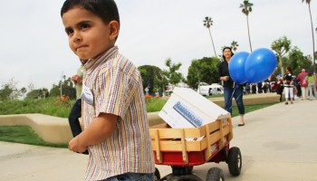 GOT 'EM: A young boy helps the Residocracy group cart petitions to City Hall during a recent rally. (Daniel Archuleta daniela@smdp.com)