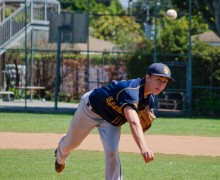 Santa Monica's River Moore delivers a pitch against rival Venice earlier this season. (Paul Alvarez)